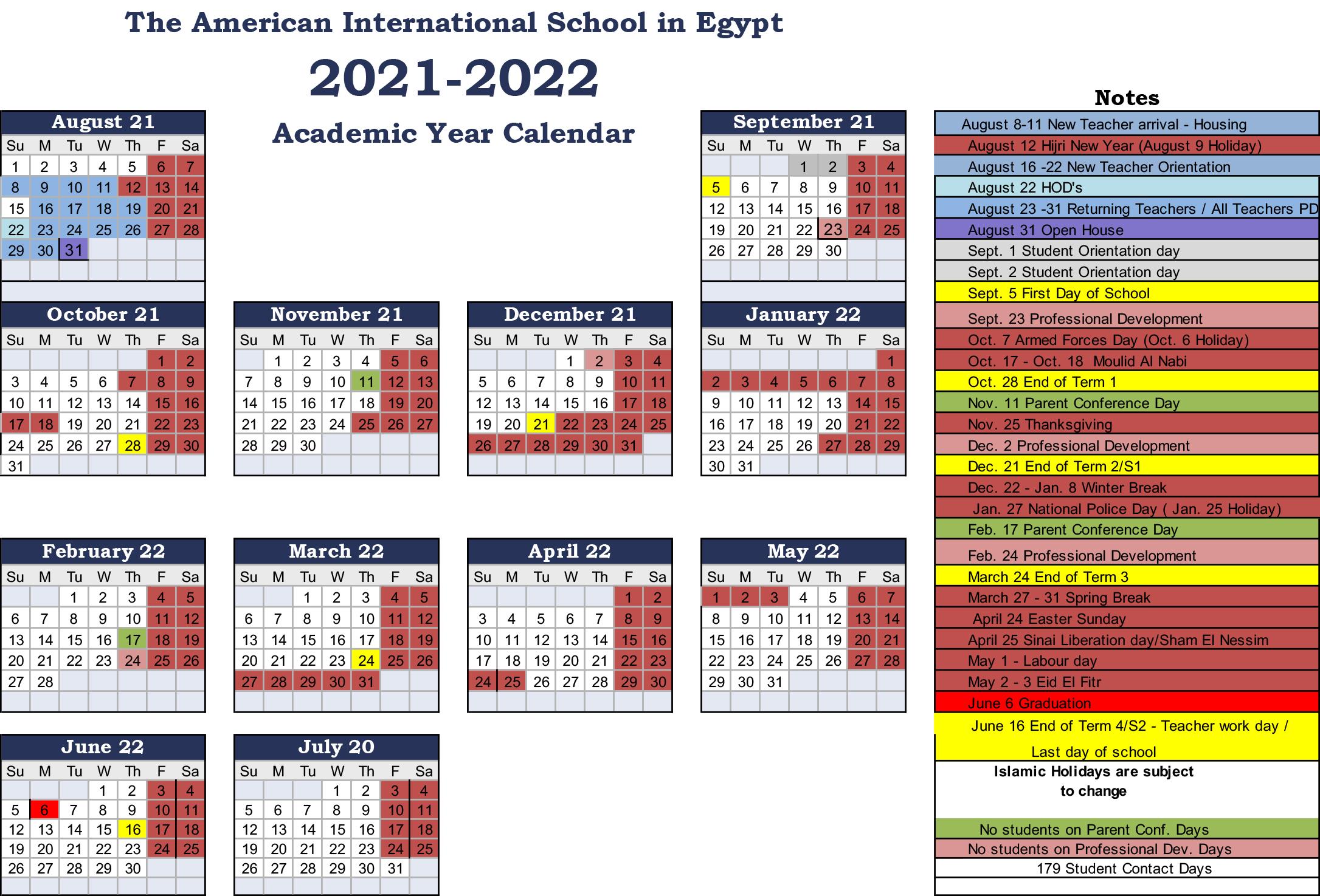 Uvu Spring 2022 Calendar.2021 2022 American International School Of Egypt Main Campus
